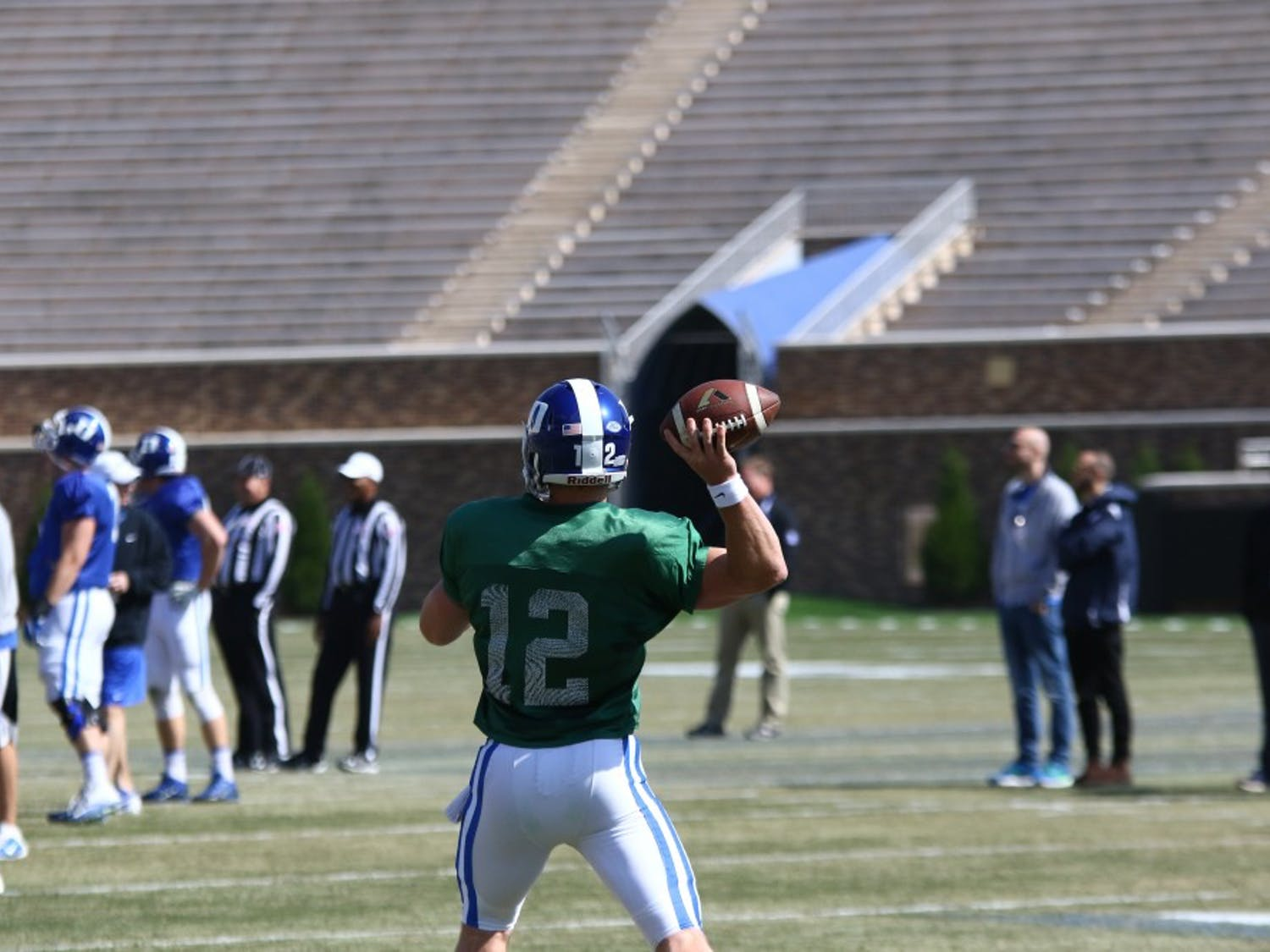 Parker Boehme—who took first-team reps during Duke's spring camp with starter Thomas Sirk sidelined—completed seven of 10 passes for 66 yards Saturday.