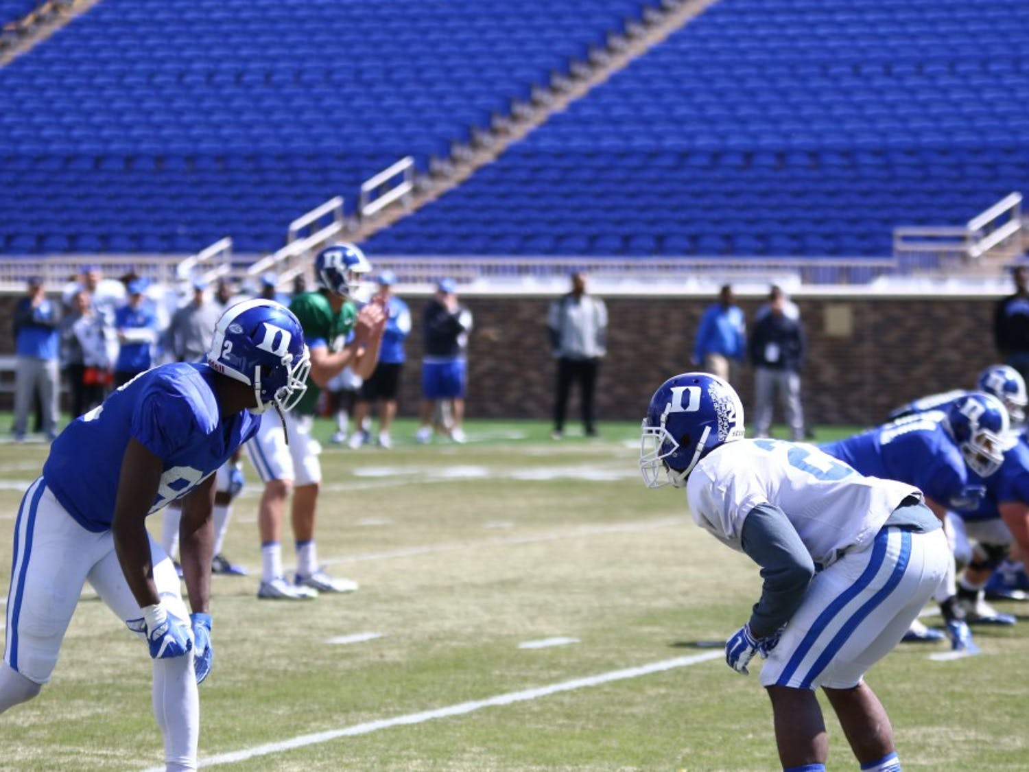 Duke's defense forced three turnovers during the scrimmage Saturday, including a fumble recovery by DeVon Edwards and an interception return for a touchdown by Joe Giles-Harris.