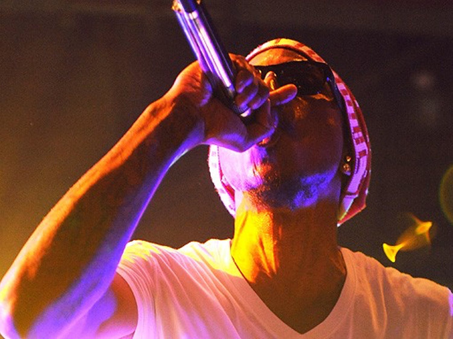 Pharell Williams, of the hip-hop group N.E.R.D. performs in Cameron Indoor Stadium Thursday night. Kid Cudi also performed as part of Cameron Rocks.
