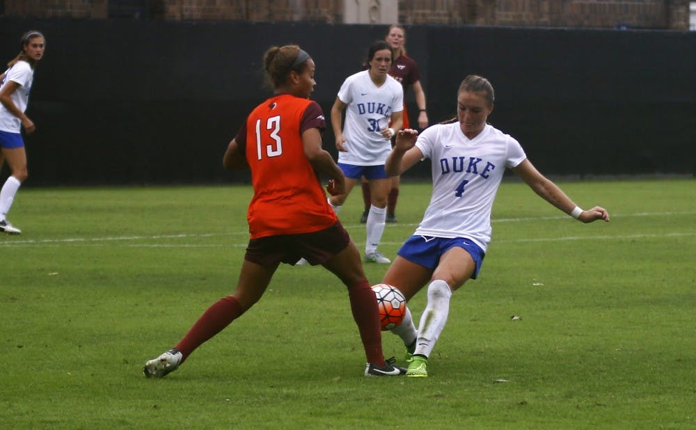 <p>Sophomore Ashton Miller and the Blue Devils outshot the Hokies but could not keep up with Virginia Tech, falling 4-2 to remain winless in ACC play.</p>