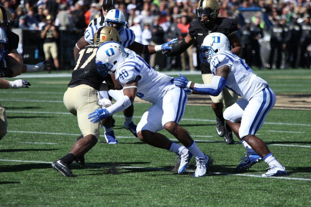 <p>The Duke defense smothered the Black Knight triple-option in the first half, holding Army to 44 rushing yards and no completions.</p>