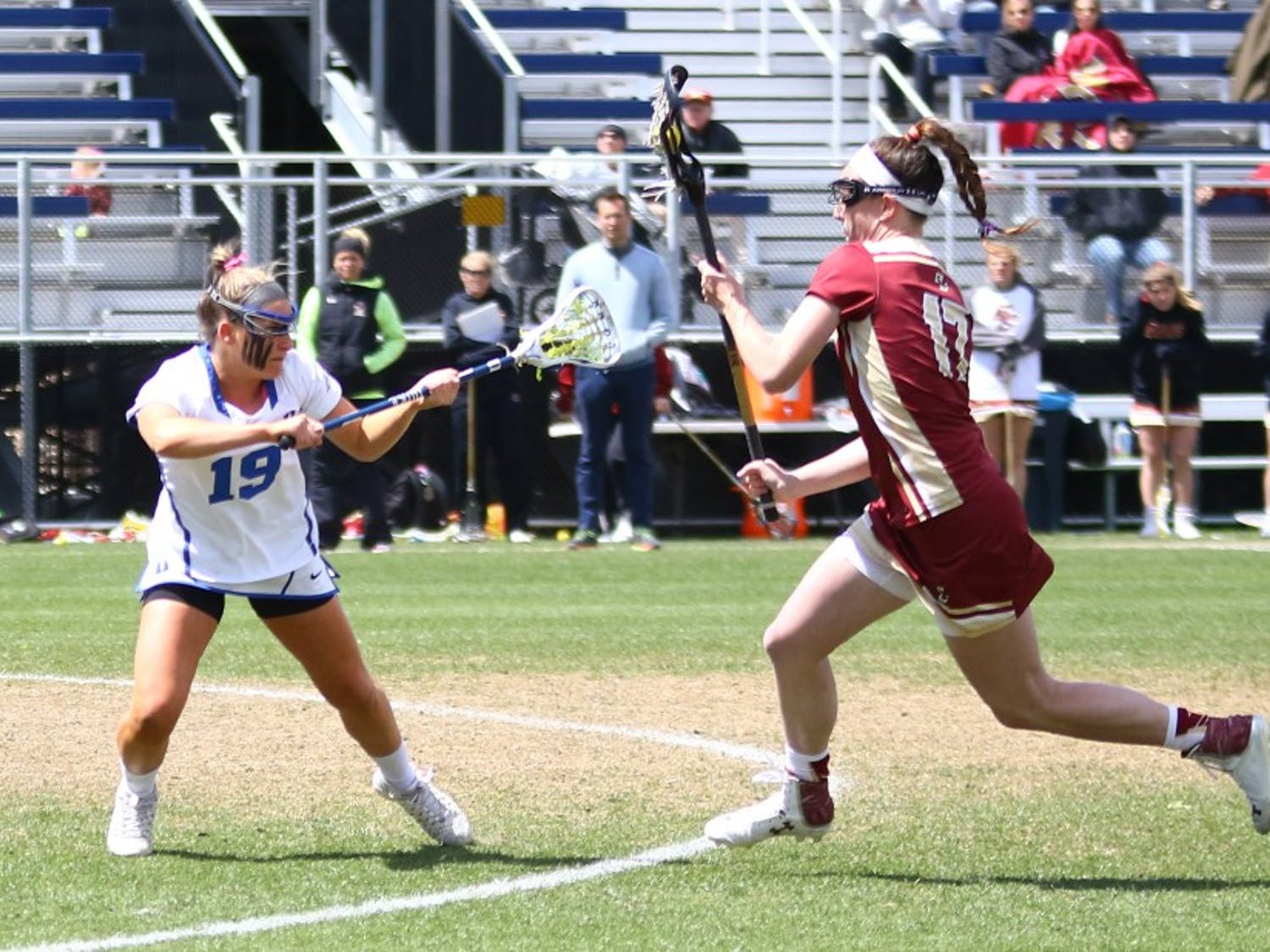 Senior Claire Scarrone and the Blue Devils will have to find a way to slow down North Carolina's relentless offense Saturday in Chapel Hill.