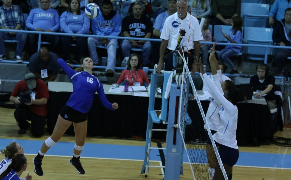 <p>Sophomore Cadie Bates put down 13 kills to help the Blue Devils fight back from a 2-1 deficit Sunday at N.C. State.</p>