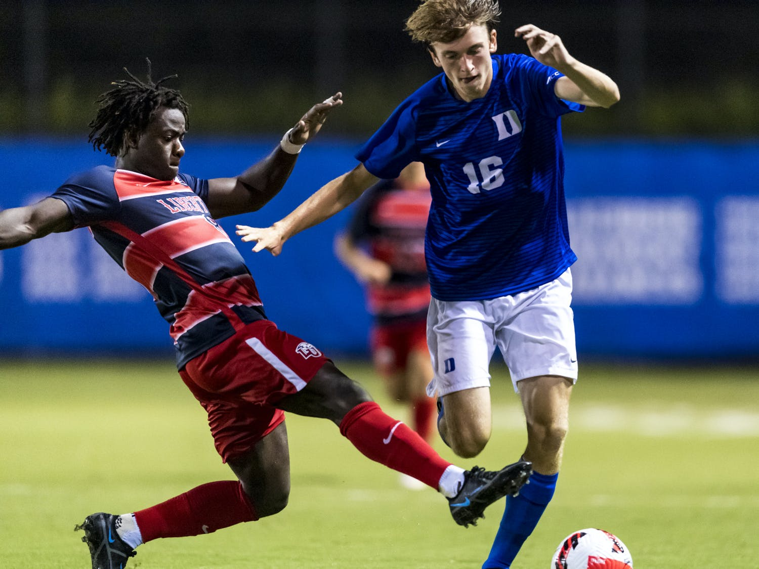 Walk-on Luke Thomas scored a goal and had an assist against Liberty.