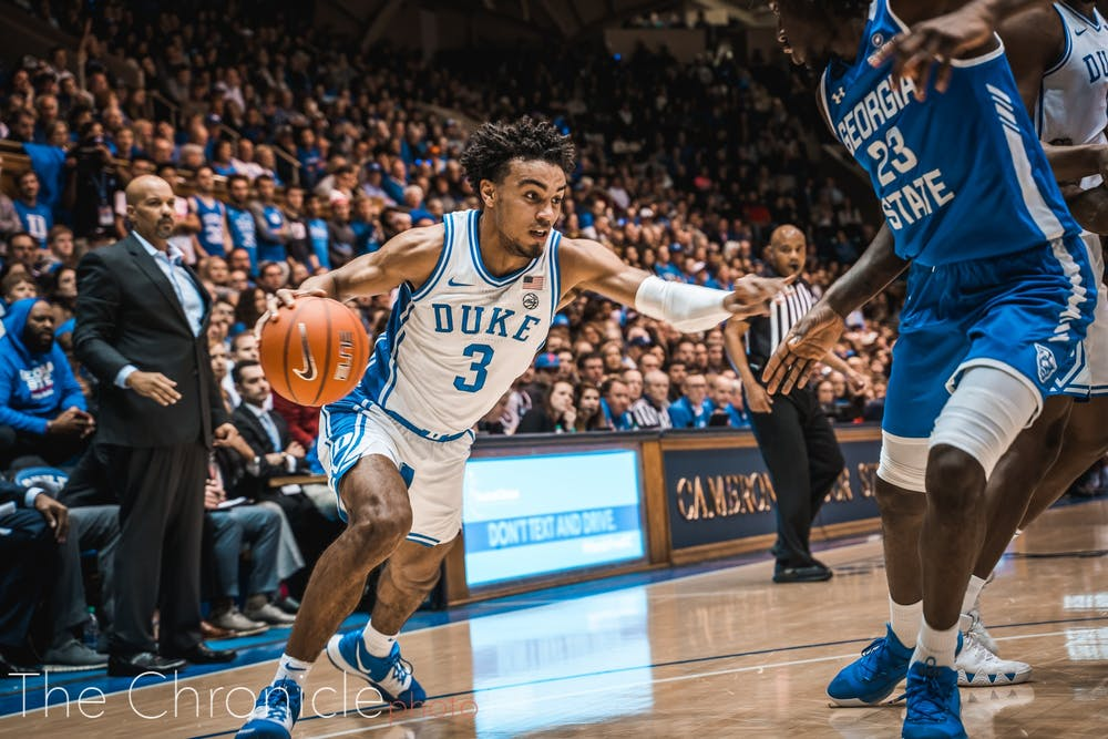 <p>Tre Jones enjoyed a career night against Georgia State Friday.</p>