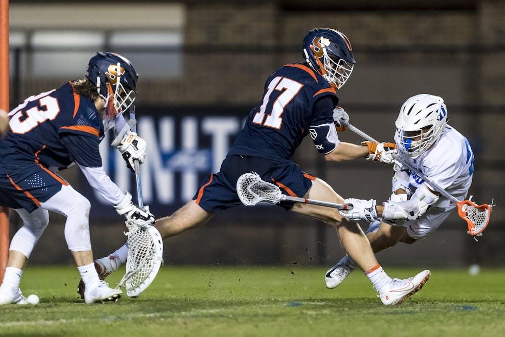 <p>Graduate student Michael Sowers notched the game-winner for Duke men's lacrosse Thursday.</p>