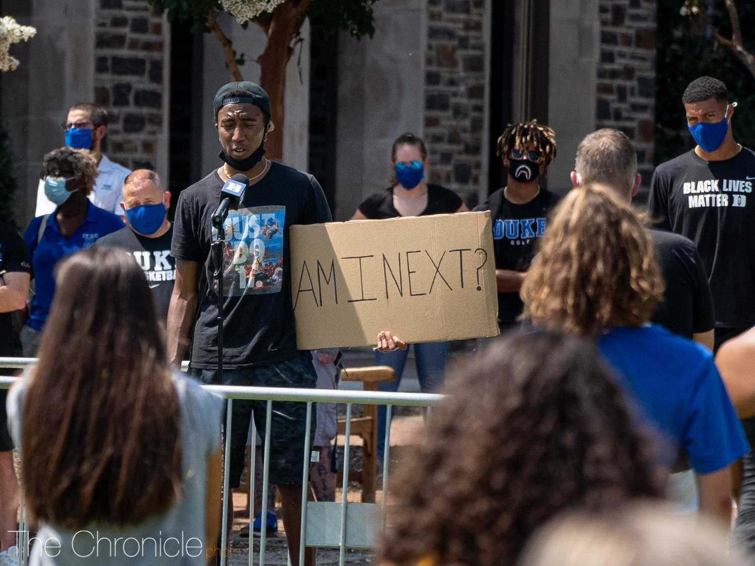On Thursday, Aug. 27, 2020, Nolan Smith, men's basketball director of operations, organized a socially distanced peaceful protest for the Black Lives Matter movement at K-Ville. Speeches were given by coaches, students and other figures at Duke.  Photos by Henry Haggart.