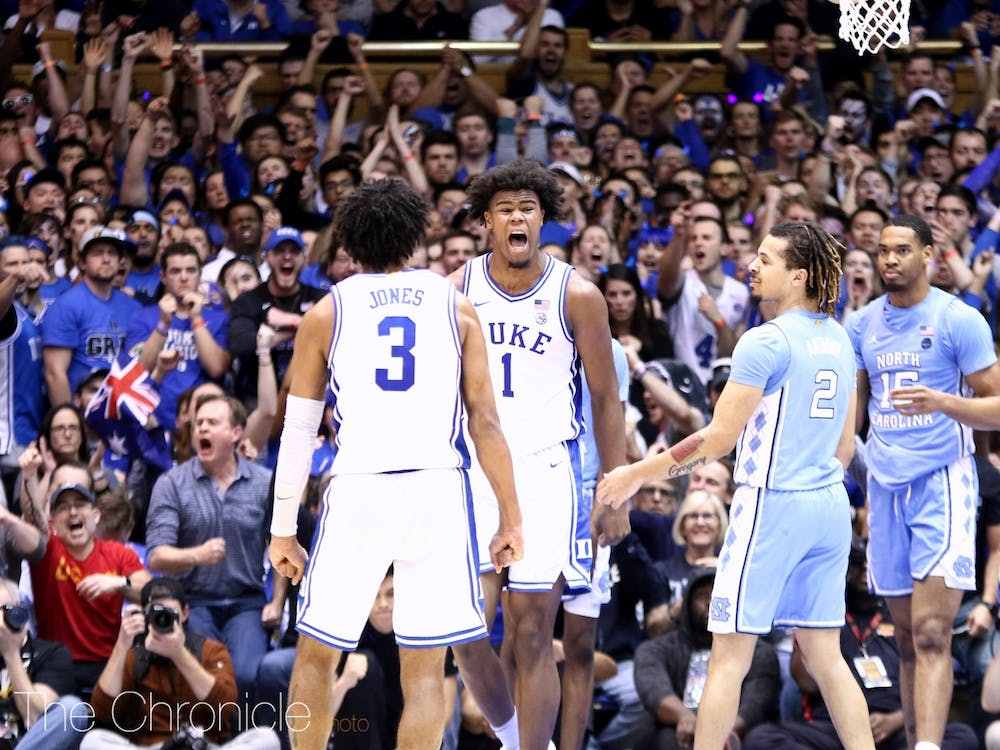 <p>Tre Jones and Vernon Carey Jr. both were recognized for their performances this season by the ACC award selection committee.</p>