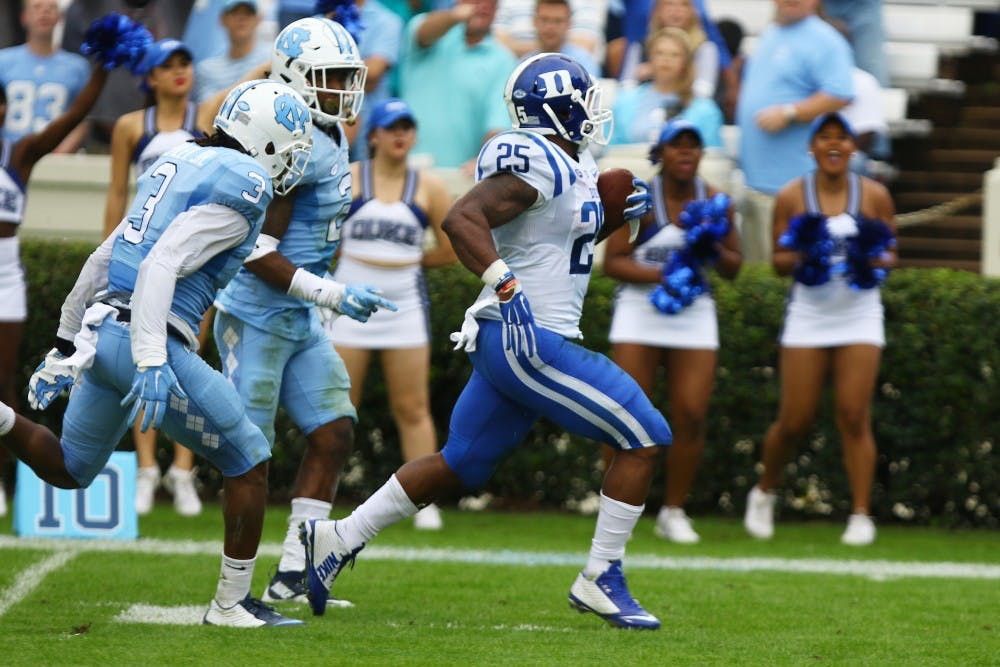 <p>Redshirt junior Jela Duncan did his best to keep Duke close in the first half, finishing a 52-yard touchdown run to bring the Blue Devils within 11.</p>