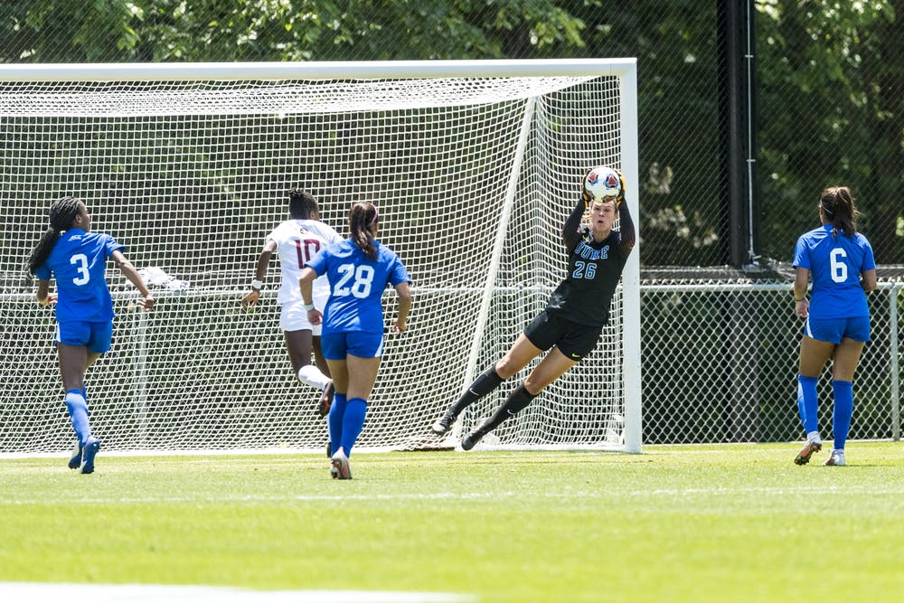 Goalkeeper Ruthie Jones recorded a career-high eight saves in Duke's Elite Eight game against Florida State.