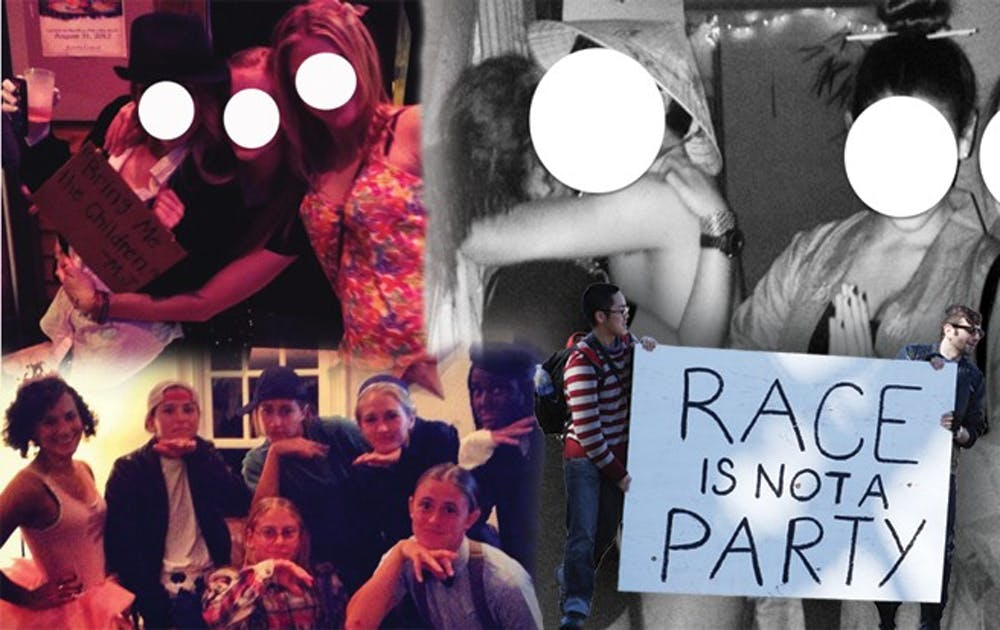 "Clockwise from top left, students pose at a ""Creepy Guys and Cutie Pies"" party; ""Asia Prime"" party attendees dress in stereotypical costumes; activists hold a sign protesting the ""Asia Prime"" party; the women's lacrosse team wears a costume involving blackface."