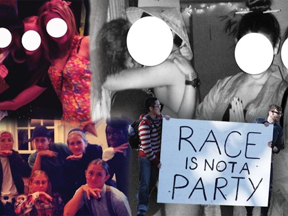 """Clockwise from top left, students pose at a """"Creepy Guys and Cutie Pies"""" party; """"Asia Prime"""" party attendees dress in stereotypical costumes; activists hold a sign protesting the """"Asia Prime"""" party; the women's lacrosse team wears a costume involving blackface."""