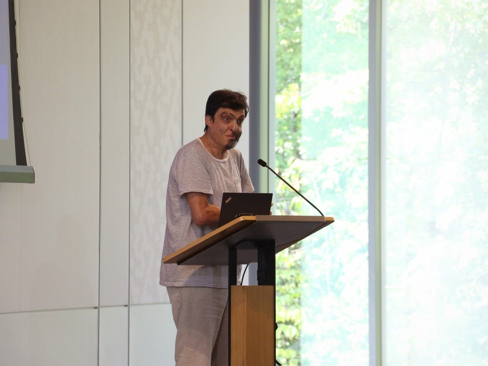 <p>Dan Ariely at a research town hall.</p>