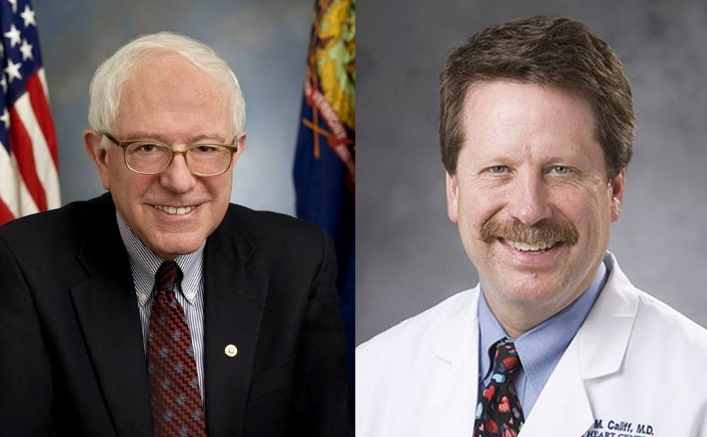 <p>Presidential candidate Bernie Sanders is among the group of senators trying to block former Duke administrator Robert Califf from leading the FDA.</p>