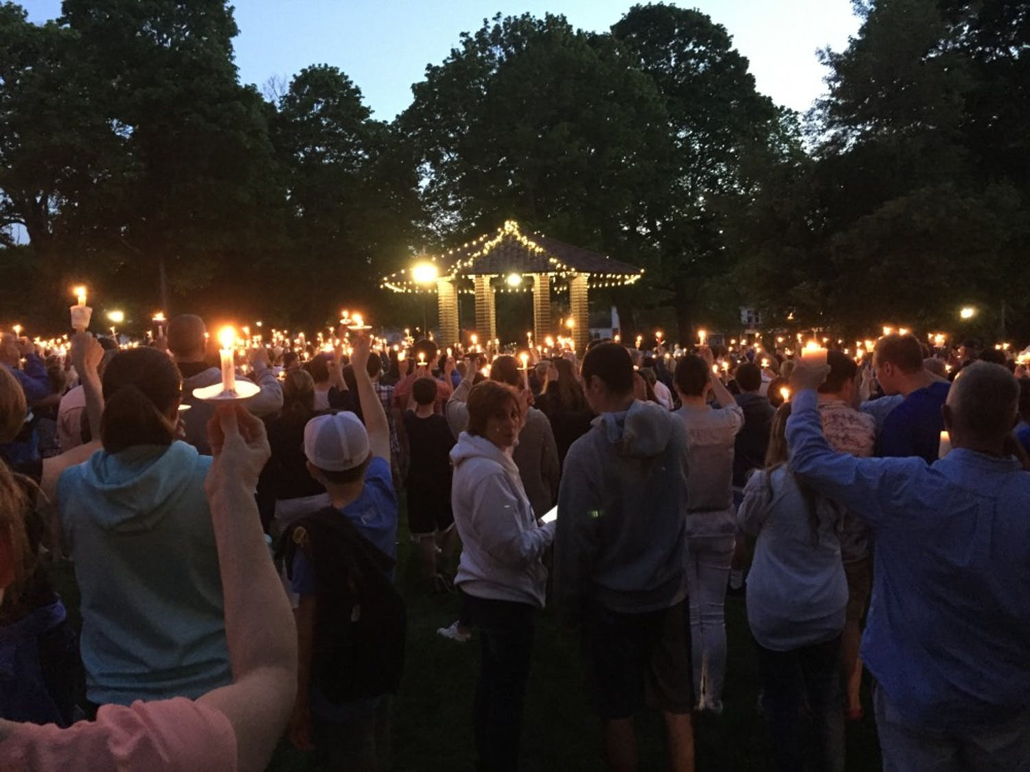 A candlelight vigil was held Tuesday night in Franklin, Mass. to support Doherty and his family.