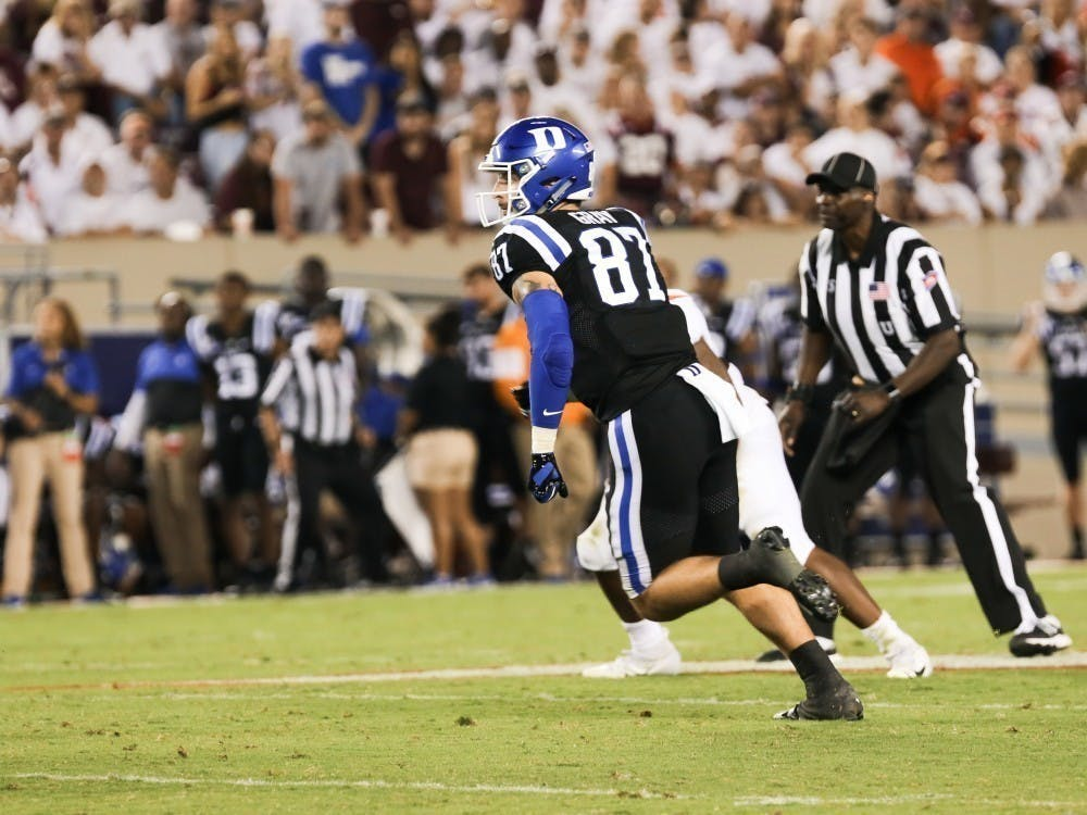 Tight end Noah Gray scored two touchdowns at Virginia Tech in a blowout win a year ago.
