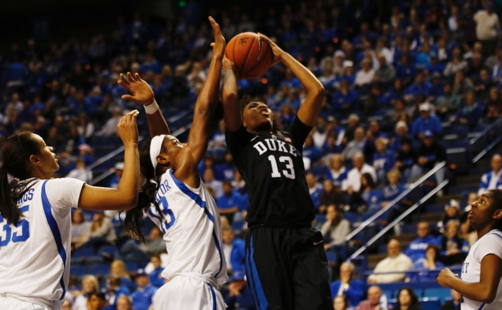 <p>Freshman Crystal Primm scored a career-high 15 points, but a long scoring drought spelled doom for the Blue Deivls at Rupp Arena Sunday.</p>