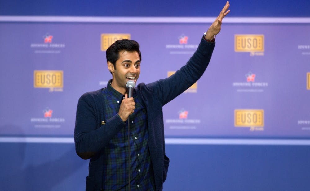 """Hasan Minhaj, host of """"Patriot Act,"""" performs during the comedy show in 2016."""