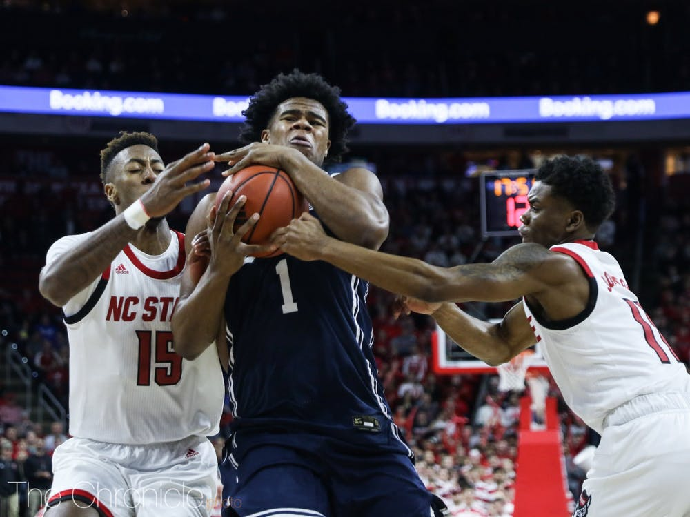 <p>It was a frustrating evening for the Blue Devils.</p>