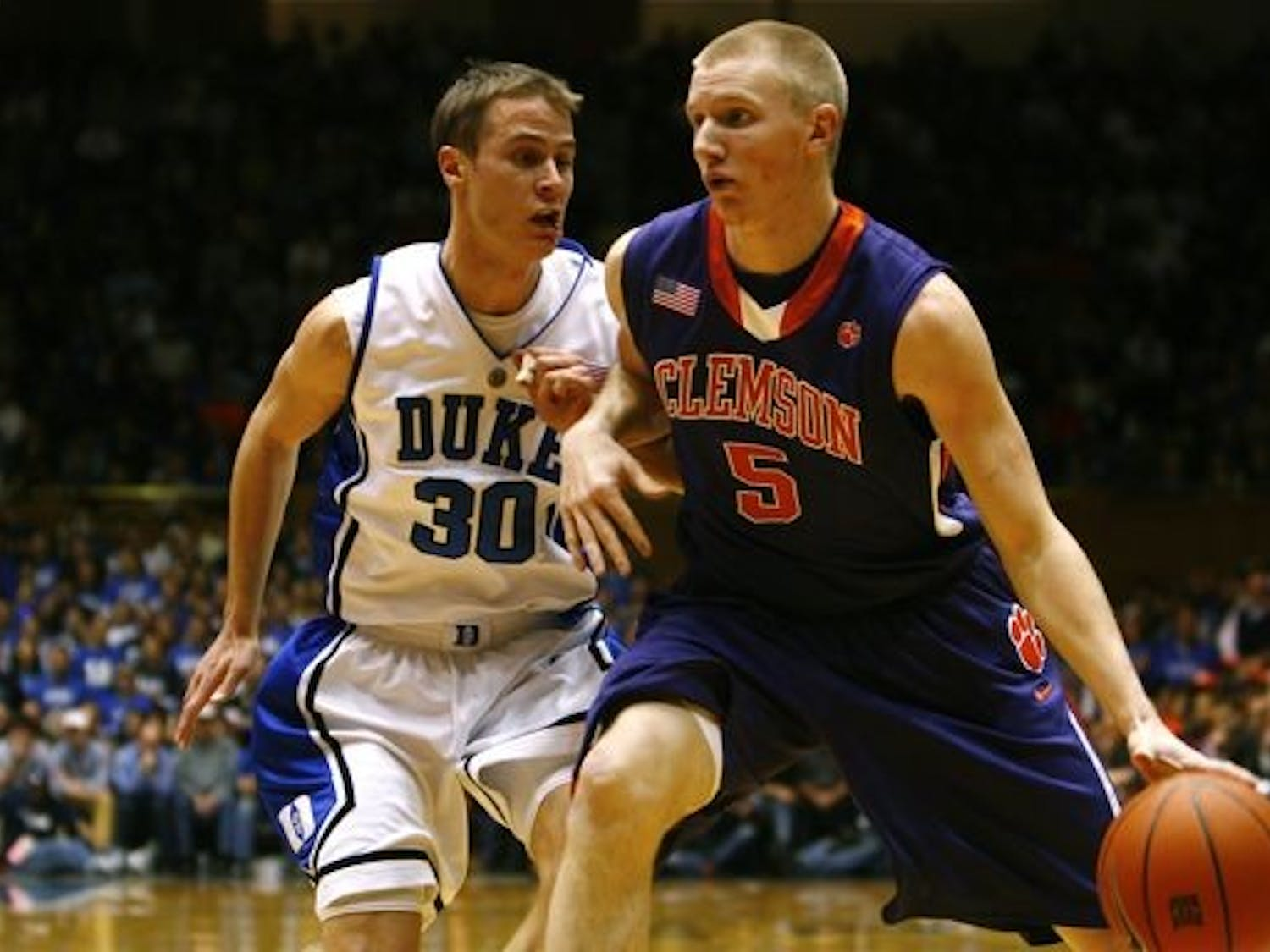 Jon Scheyer and the Blue Devil defense held Clemson to just 12 points in the first half of Sunday night's ACC matchup in Cameron Indoor Stadium.