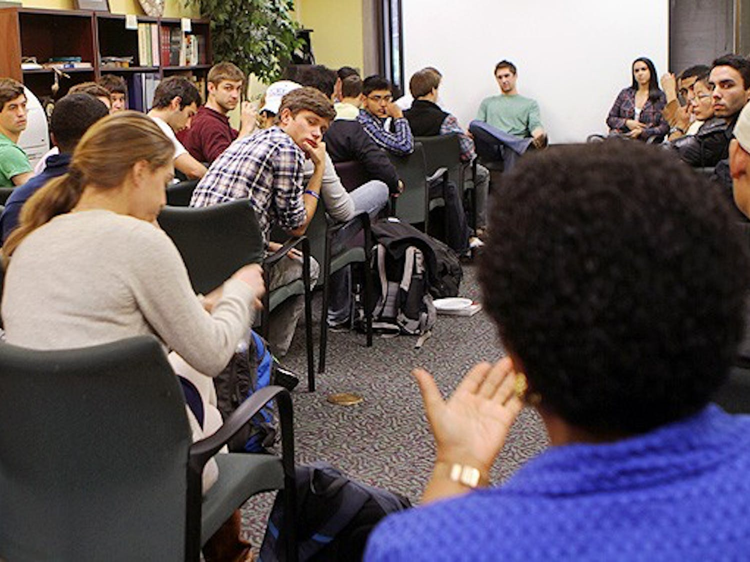 """Students discuss relevant campus issues at  """"Culture Clash,"""" an event at the Center for Multicultural Affairs."""