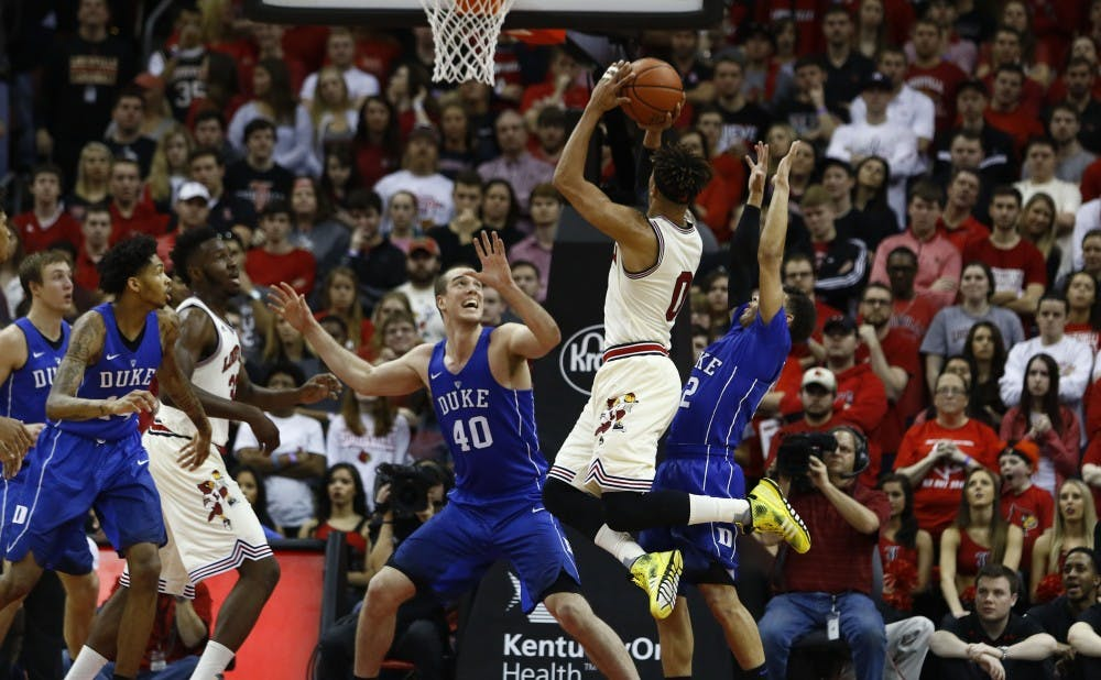 <p>Damion Lee scored 24 points for Louisville as the Cardinals erased a 12-point second-half deficit to beat Duke Saturday.</p>