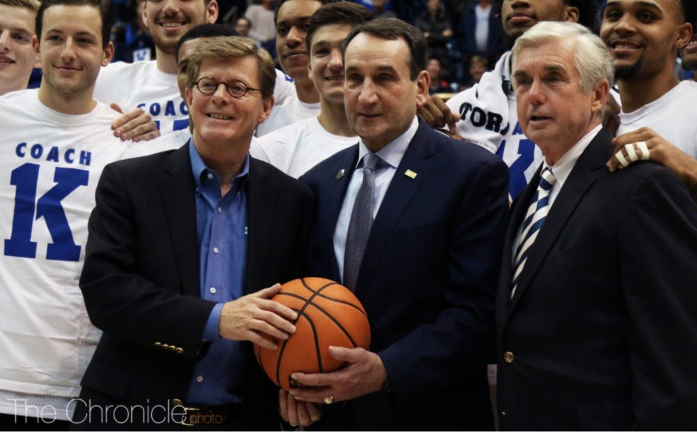 President Vincent Price, Mike Krzyzewski and Director of Athletics Kevin White will have to work without one of Duke Athletics' key figures after Mike Cragg's departure.