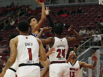 Jalen Johnson struggled to find a rhythm Saturday against Louisville, totaling nine points and a game-high six turnovers.