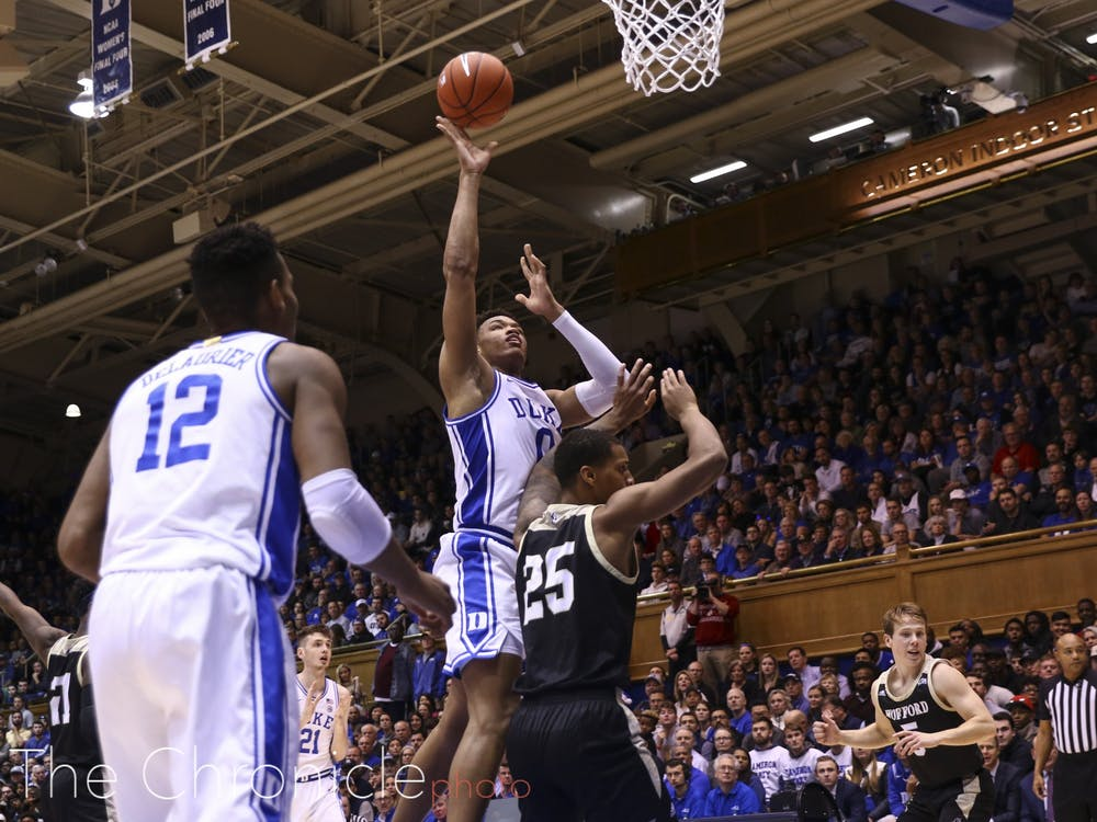 Despite the absence of Tre Jones who was out with a mild sprain, the Blue Devils showed the strength of their communication and soundly defeated Wofford 86 to 57 at Home in Cameron Thursday Night. Check out head photo editors Charles York's and Mary Helen Wood's best shots from the evening.