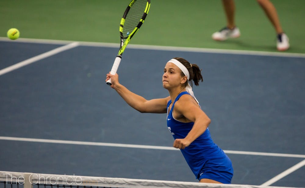 Samantha Harris pulled away in the third set to help Duke control Sunday's match at N.C. State.
