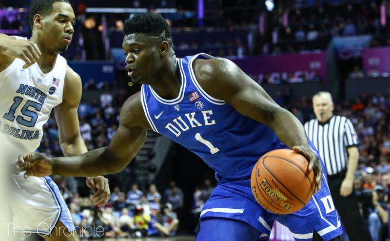 Zion Williamson had mixed success on the interior in the first half Saturday.