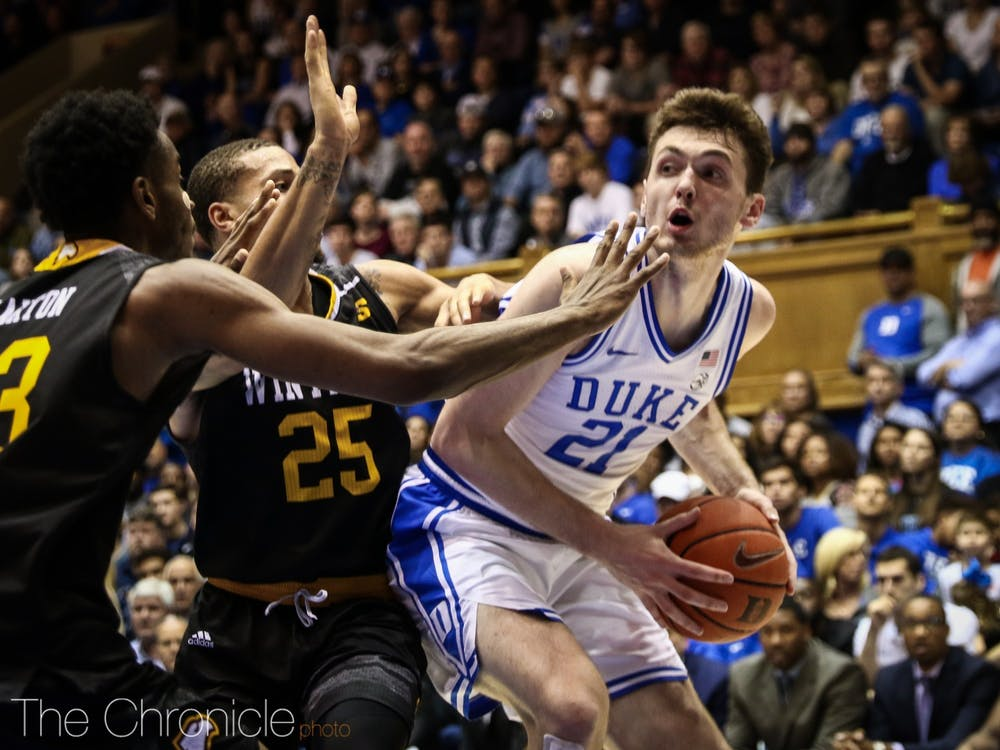 Matthew Hurt led Duke in scoring with 20 points in the first half.