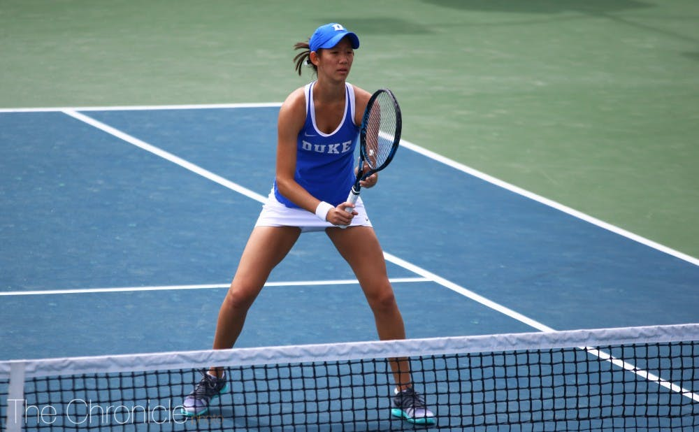<p>Meible Chi swept her match Wednesday.</p>