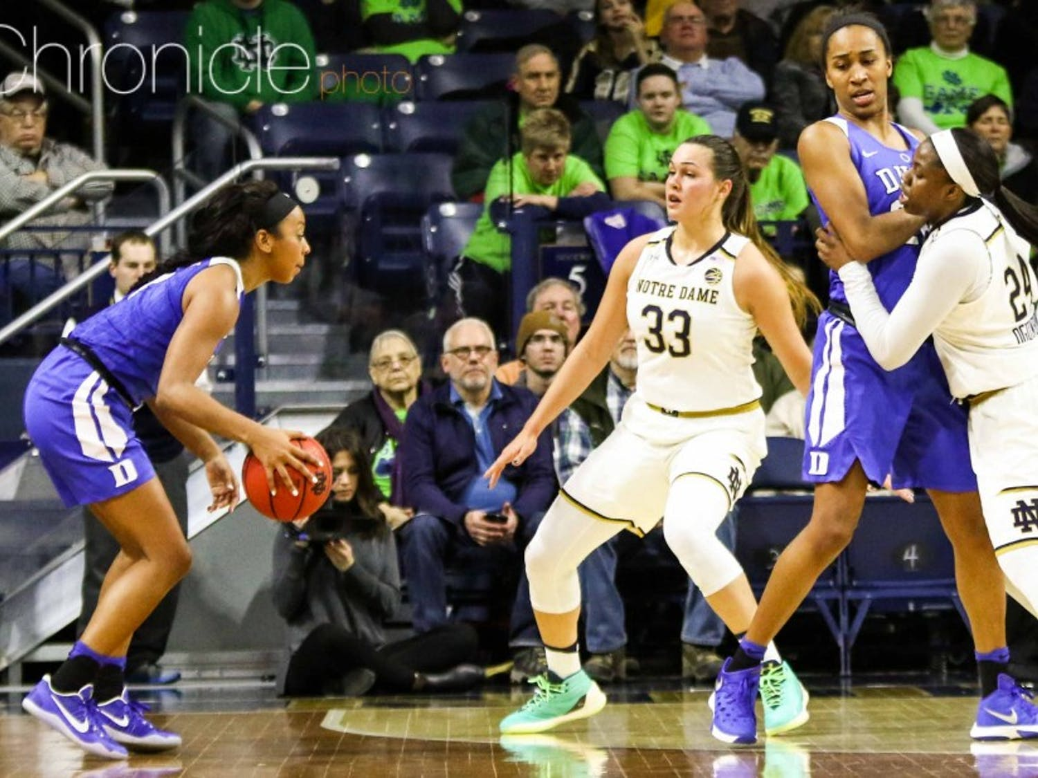 Lexie Brown scored 22 points and got her team off to a hot start, but Notre Dame swarmed the All-American late to take the Blue Devils out of their offense.