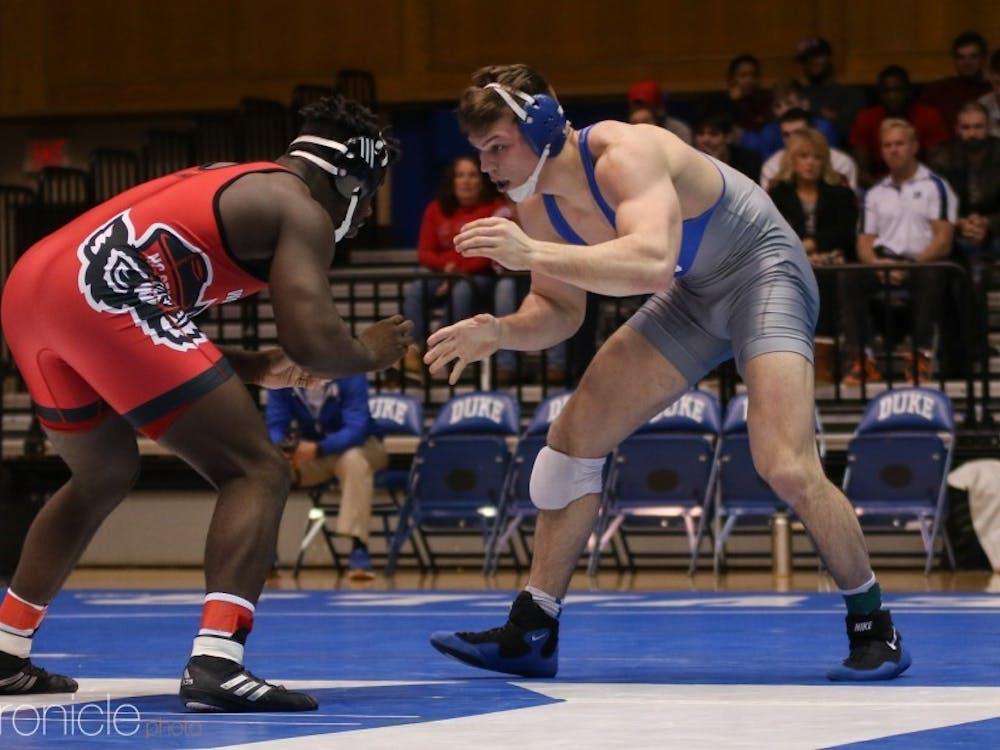 Jacob Kasper won his 100th career match at Duke Thursday night.
