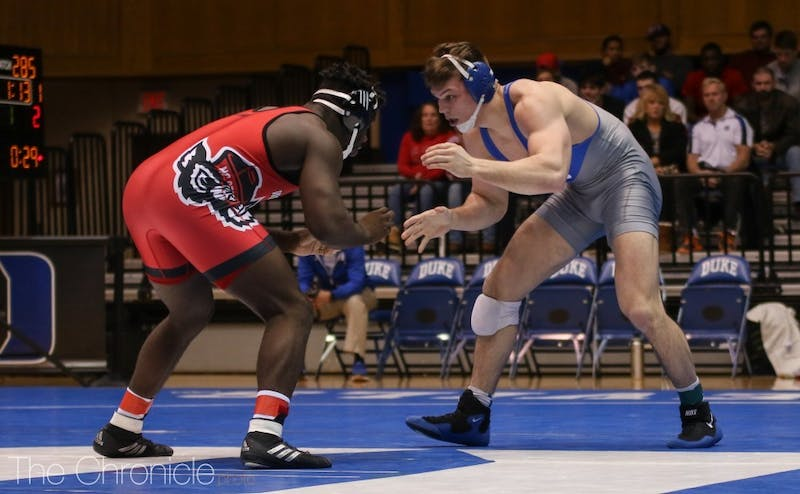 Jacob Kasper won his 100th career match at Duke Thursday night.