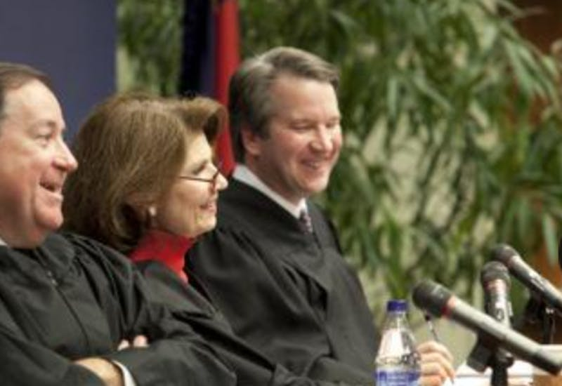 Duke Law School | Kavanaugh, right, at a 2011 Duke Law event