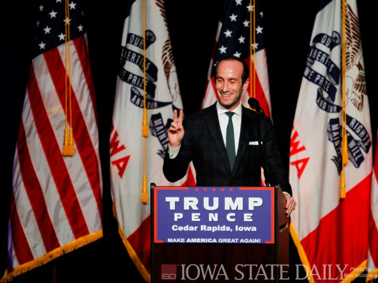 "Senior Policy Advisor for the Trump Campaign Stephen Miller throws up a peace sign while saying hello to the crowd, before a Donald Trump event July 28 in Cedar Rapids. Miller criticized Democratic presidential nominee Hillary Clinton over her new slogan ""stronger together,"" believing that that didn't include working class Americans."