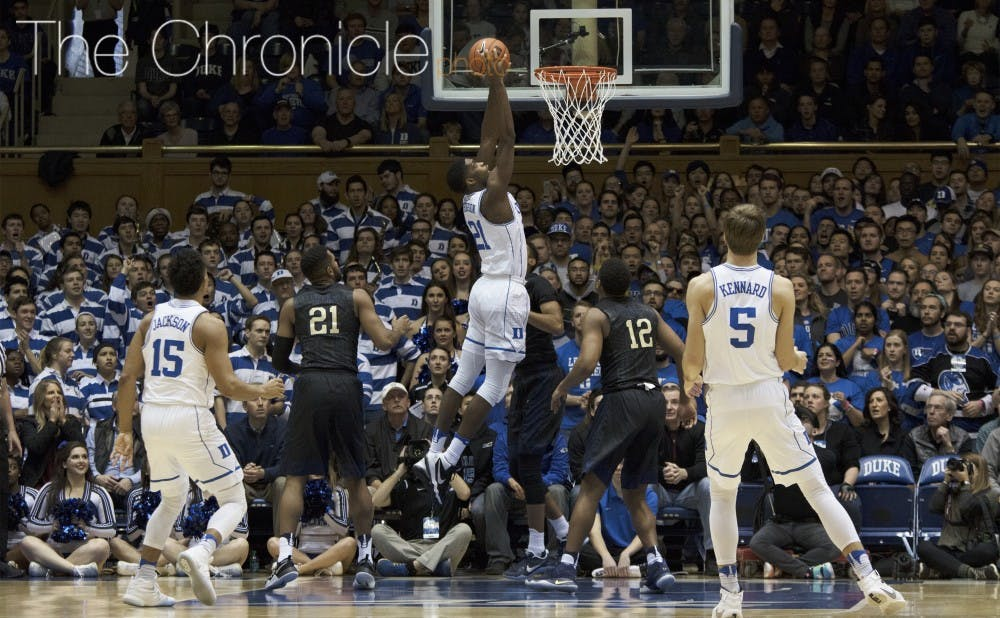 <p>Amile Jefferson will need to have a big impact inside for the Blue Devils against the best rebounding team in the country.&nbsp;</p>