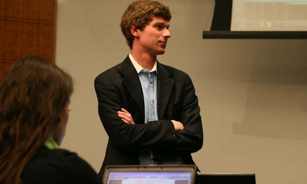 """Junior Gregory Morrison, Duke Student Government executive vice president , discussed the new resolution which defined """"essential and inalienable rights"""" for Duke undergraduates at DSG's meeting Wednesday night."""