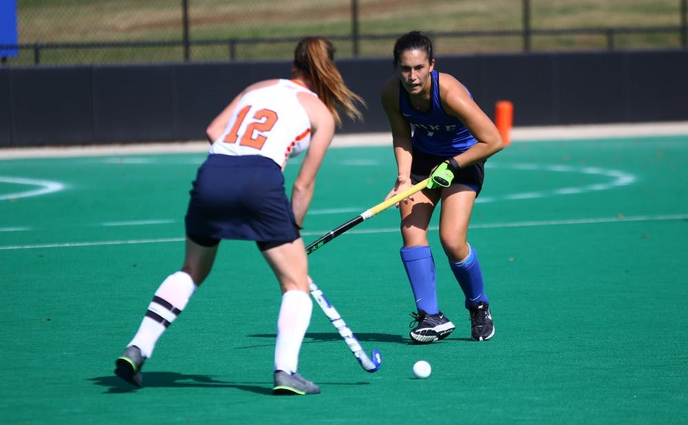 <p>Senior Amanda Kim scored the game-winning goal just before halftime for the Blue Devils, who will return to the national semifinals for the second time in three years.</p>