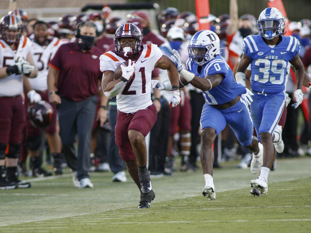 Virginia Tech running back Khalil Herbert torched Duke in the second half Saturday, totaling 180 of his 208 rushing yards over the final 30 minutes.