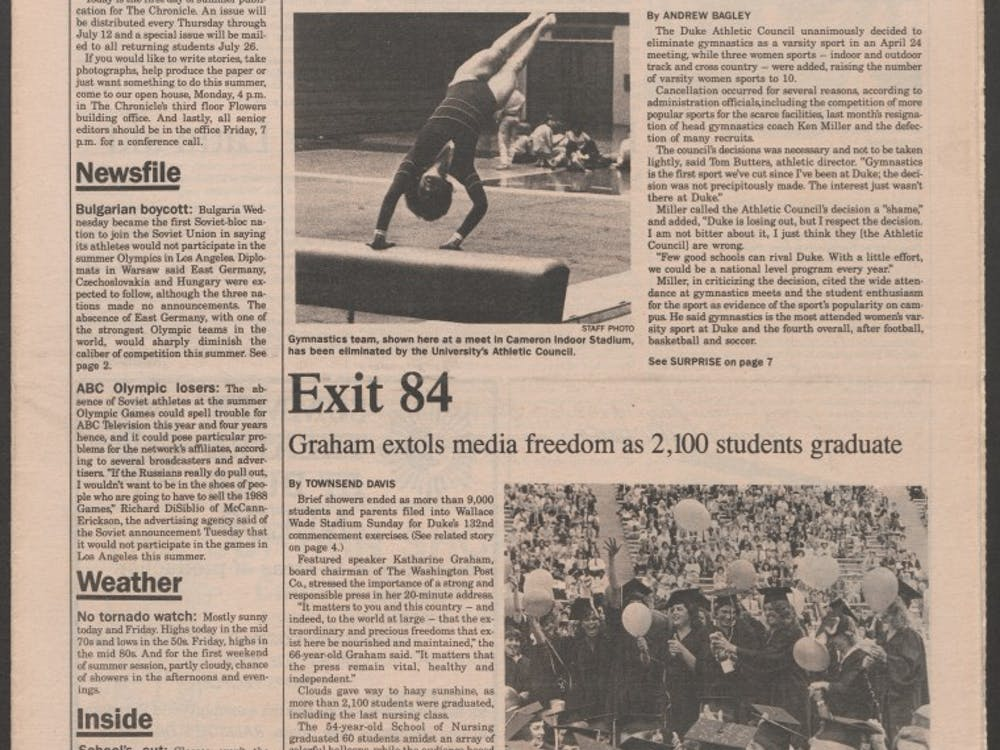 A Chronicle article in 1984 detailed Duke's decision to cut gymnastics as a sport.