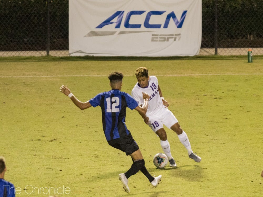 Colby Agu scored the first goal for the Blue Devils.