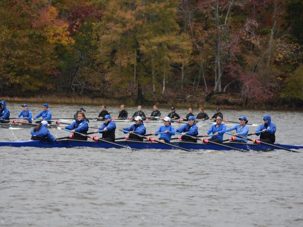 The Blue Devils' varsity eight and 2V8 boats finished sixth in Saturday's grand finals.