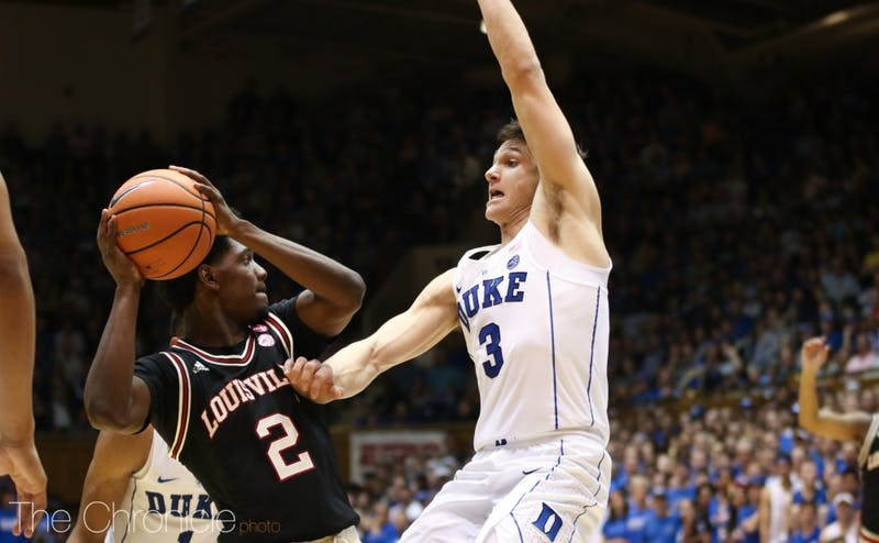 Duke's stifling 2-3 zone limited Louisville to just 56 points and 35.9% shooting from the field.