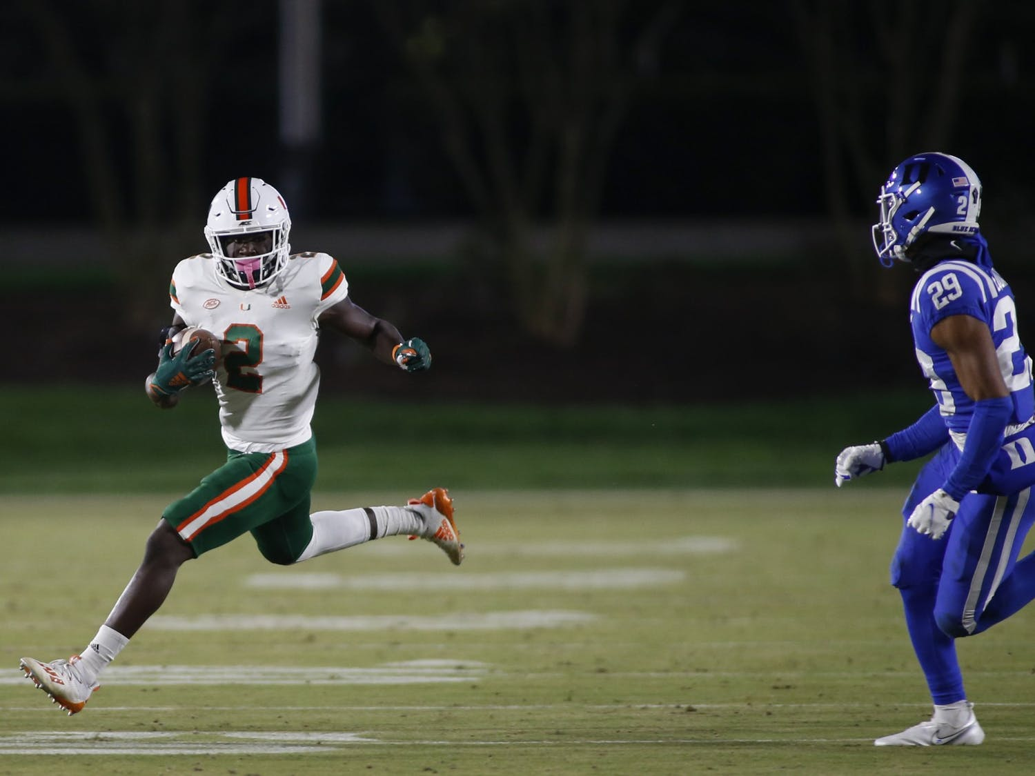 Duke struggled to contain Miami's explosive offense Saturday night, giving up 524 total yards to the Hurricanes.