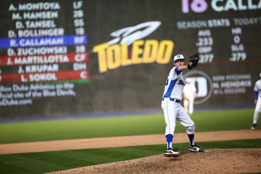 <p>One year to the day after suffering a freak injury when a foul ball struck him in the head in the dugout, senior Nick Hendrix will look to finish off a Duke win against North Carolina&nbsp;out of the bullpen.</p>