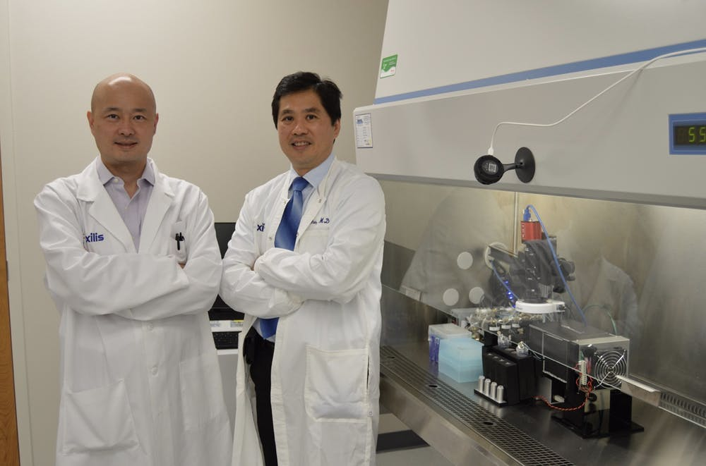 <p>Xiling Shen, Hawkins Family associate professor of biomedical engineering, and David Hsu, William Dalton Family assistant professor of cancer genomics, have worked together since 2015 to combine their career interests to create technology that could improve the care of cancer patients.&nbsp;</p>