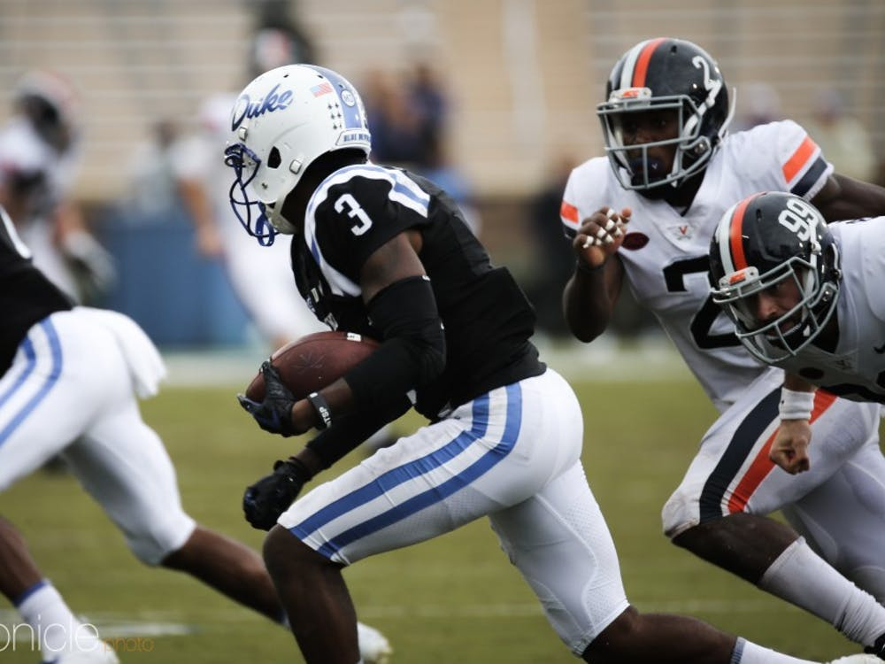 T.J. Rahming's six catches were not enough to help Duke compete with Virginia Saturday afternoon.